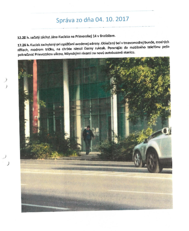 A report from the first day of monitoring Ján Kuciak. Source: OCCRP / Kočner Library